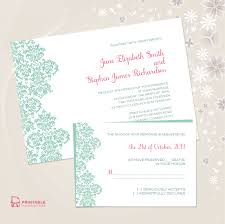 damask border invitation and rsvp set wedding invitation