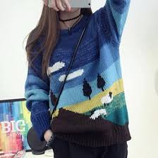tree sweater fashion tree sweater for blue color block tops