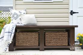 diy rustic x bench with shelf buildsomething com