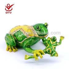 fashion painted frog jewelry box metal frog garden metal