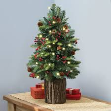 prelit christmas tree the tabletop prelit christmas tree hammacher schlemmer