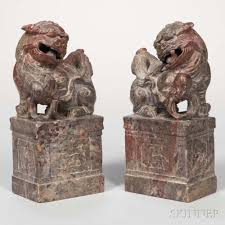 foo lions for sale pair of soapstone carvings of foo lions sale number 2992b lot