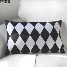 housses coussins canap h3137 mode noir blanc motif géométrique lombaire housse de coussin