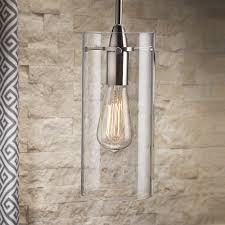 large cylinder pendant light effimero large stem hung pendant l with clear glass cylinder