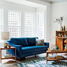 Velvet Sofa For Sale by West Elm Paidge Sofa In Performance Velvet Fabric In Ink Blue
