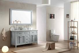 Kensington 60 Vanity 61 Inch Cottage Double Sink Bathroom Vanity Set In Grey Finish
