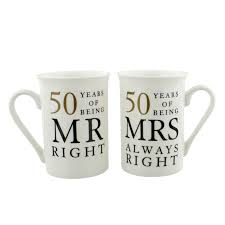 50 year anniversary gift 50 years of mr mrs right golden anniversary mug gift set