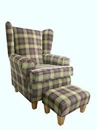 Aubergine Armchair Cottage Wing Back Queen Anne Chair In Aubergine Lana Tartan On Qa