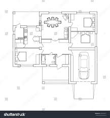 suburban house interior black white floor stock vector 494067877