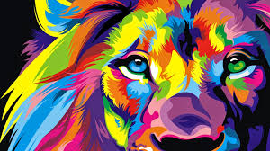wallpaper of colorful lion colorful artwork wallpaper wallpapersfans com