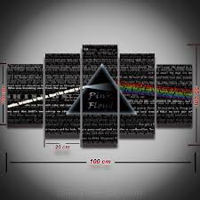 rock home decor 5 panel printed pink floyd rock music canvas painting for wall art