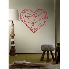 Heart Wall Stickers For Bedrooms Rose Red 49 57cm Geometric Heart Shape Waterproof Design Wall