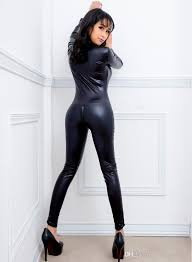 black women faux leather wet look pvc catsuit ladies fancy
