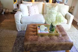 Square Brown Leather Ottoman Home In Apartment Living Room Design Ideas Introduce
