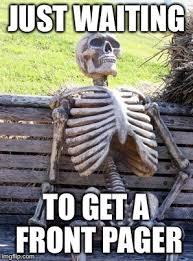 Pager Meme - waiting skeleton meme imgflip