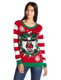ugly christmas sweater women u0027s light up reindeer wreath at amazon