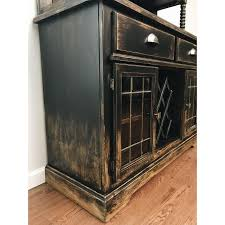 black distressed bistro coffee bar hutch cabinet chairish