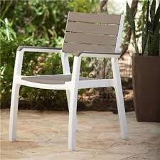 Patio Armchair 228898 Keter Harmony White Cappuccino Outdoor Patio Armchair Set Of 2