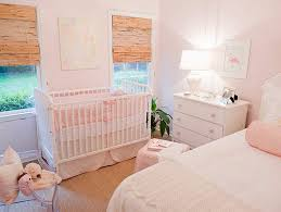 light pink crib bedding and guest room