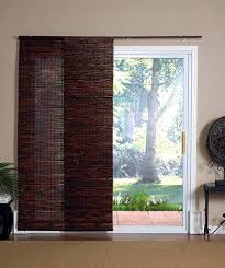 window treatment for sliding glass door with bamboo blinds panel