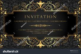 Gold Invitation Card Invitation Card Design Luxury Black Gold Stock Vector 598844795