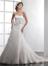 couture mermaid strapless lace wedding dress with flowers sash