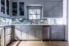 Mirrored Backsplash In Gray Butler Pantry Transitional Kitchen - Mirrored backsplash