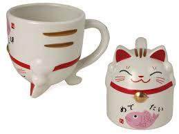 maneki neko ceramic coffee mug