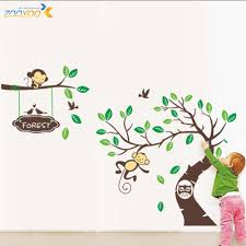 popular monkey wall decals buy cheap monkey wall decals lots from 1207 1set carton wall sticker cute monkeys wall decal carton wall stickers for kids