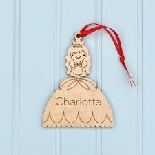 princess ornament handcrafted wooden personalized