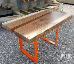 handmade coffee table live edge coffee table orange brown modern coffee table