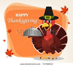 thanksgiving greeting card turkey bird wearing stock vector