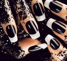 black acrylics nail designs for prom