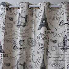 Eiffel Tower Bedroom Curtains Curtain New Wholesale Black Eiffel Tower Font Cotton Linen Window
