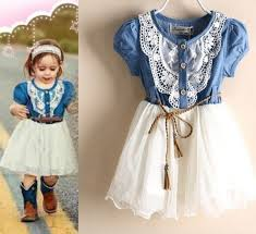 little cowgirls white denim dress ready to ship white lace tutu
