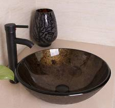 Vessel Faucets Oil Rubbed Bronze Washroom Round Artistic Glass Vessel Sink With Oil Rubbed Bronze