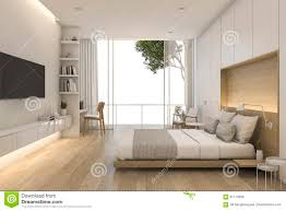 Minimal Bedroom 3d Rendering Beautiful Loft Minimal Bedroom Stock Illustration