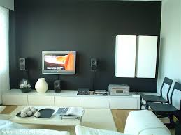 living dark gray and white wall paint and latest lcd tv cabinate