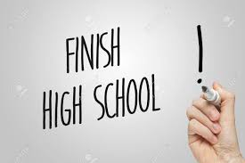 how can i finish high school writing finish high school on grey background stock photo