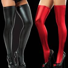 2017 wet look thigh high stocking extra long vinyl opaque