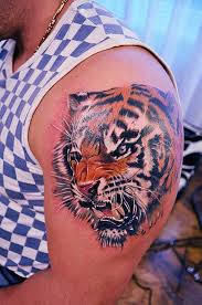 realistic tiger head on shoulder tattoo tattoos pinterest