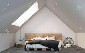 Dachgeschoss Schlafzimmer Design Dachgeschoss Schlafzimmer Mit Palette Bett 3d Rendering