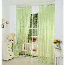 Green Sheer Curtains Casual Modern Solid Light Beige Organza Sheer Curtain