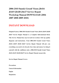 100 suzuki grand vitara 2001 technical manual suzuki grand