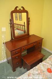 Davis Cabinet Company Dresser Davis Cabinet Company Solid Cherry Wood Vanity With Stool