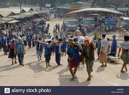 Sedan Chairs People Carrying Tourists On Sedan Chairs Kinpun Base Camp Myanmar