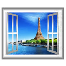 Eiffel Tower Wall Decals 3d Window Wall Decal Eiffel Tower Paris France 3d Wall Decals
