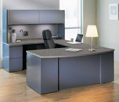 White Laminate Desk Simple White Table Lamp Paired With Grey Office Furniture On
