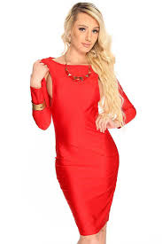 womens clothing party dresses red long sleeves side bodycon