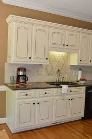 Antique Cream Kitchen Cabinets Painted Kitchen Cabinet Details Valspar Cashmere And Glaze